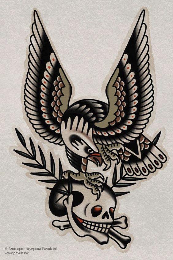 эскиз тату олдскул орел