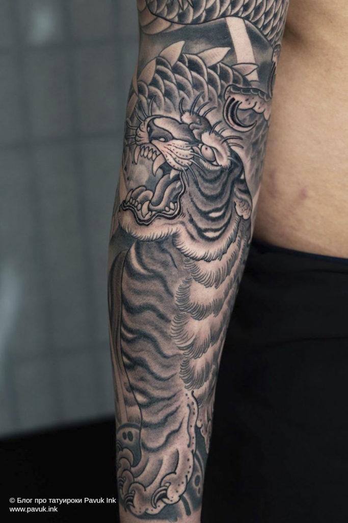 тату тигр япония 18