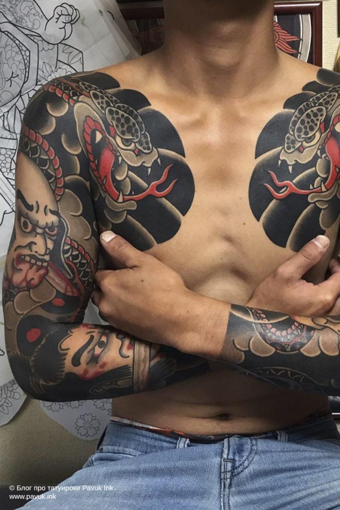 тату Япония змея 25