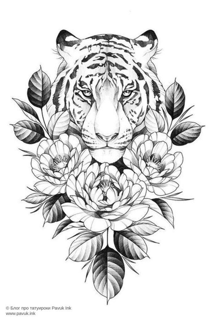эскиз тату тигра