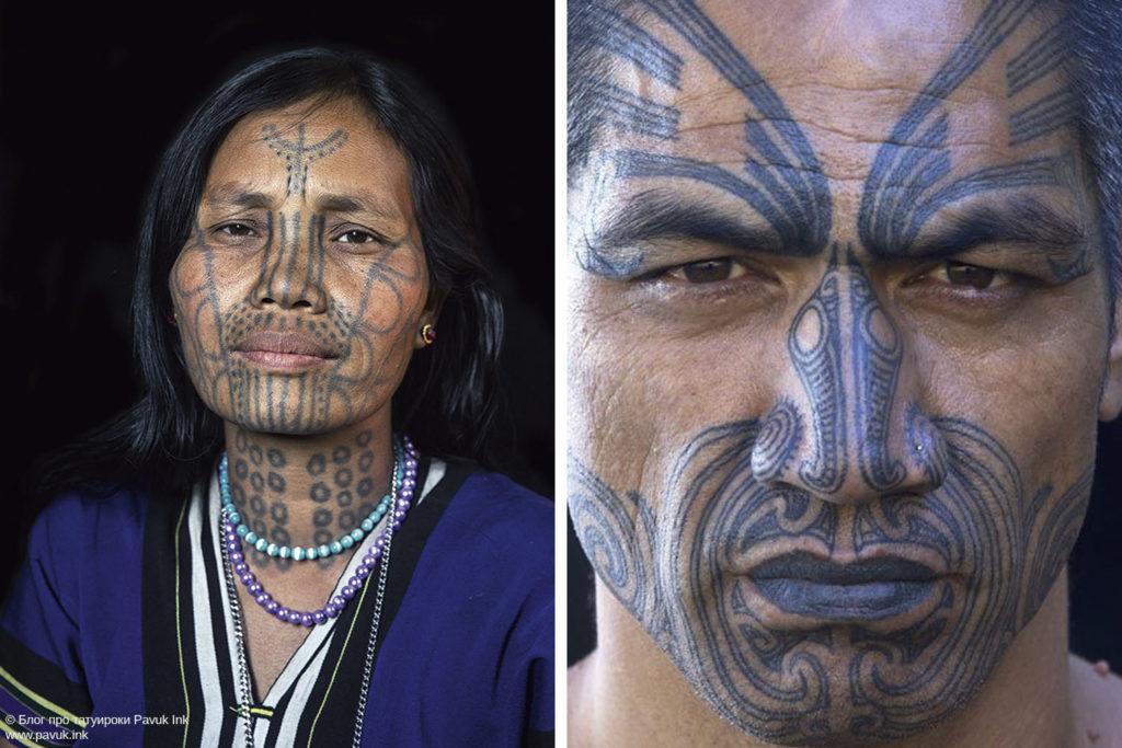тату на лице маори