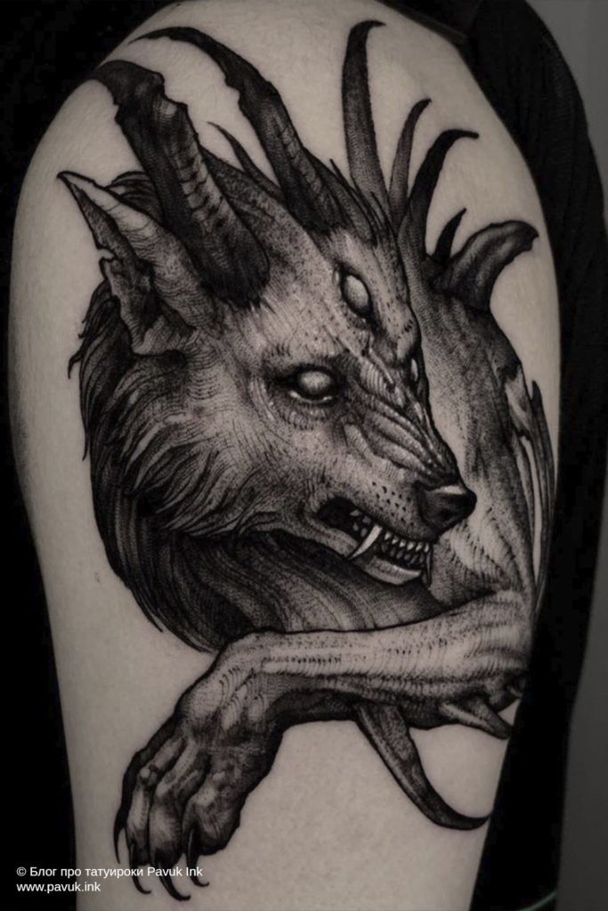 тату волк 15