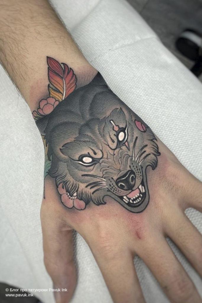 тату волк 22