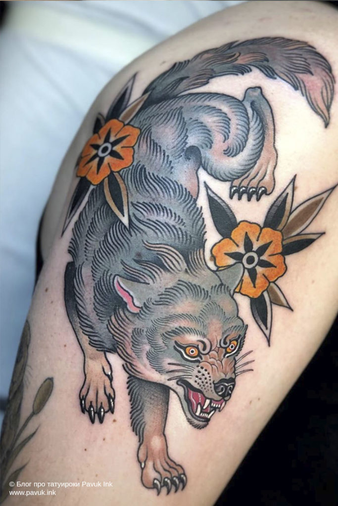 тату волк 24