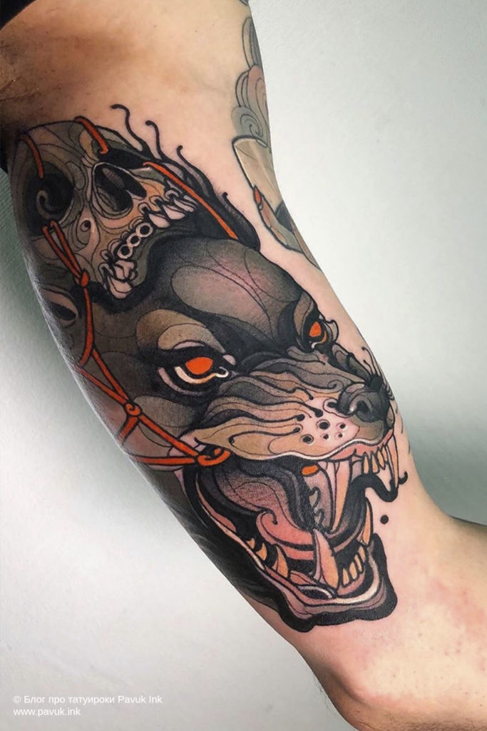 тату волк 37