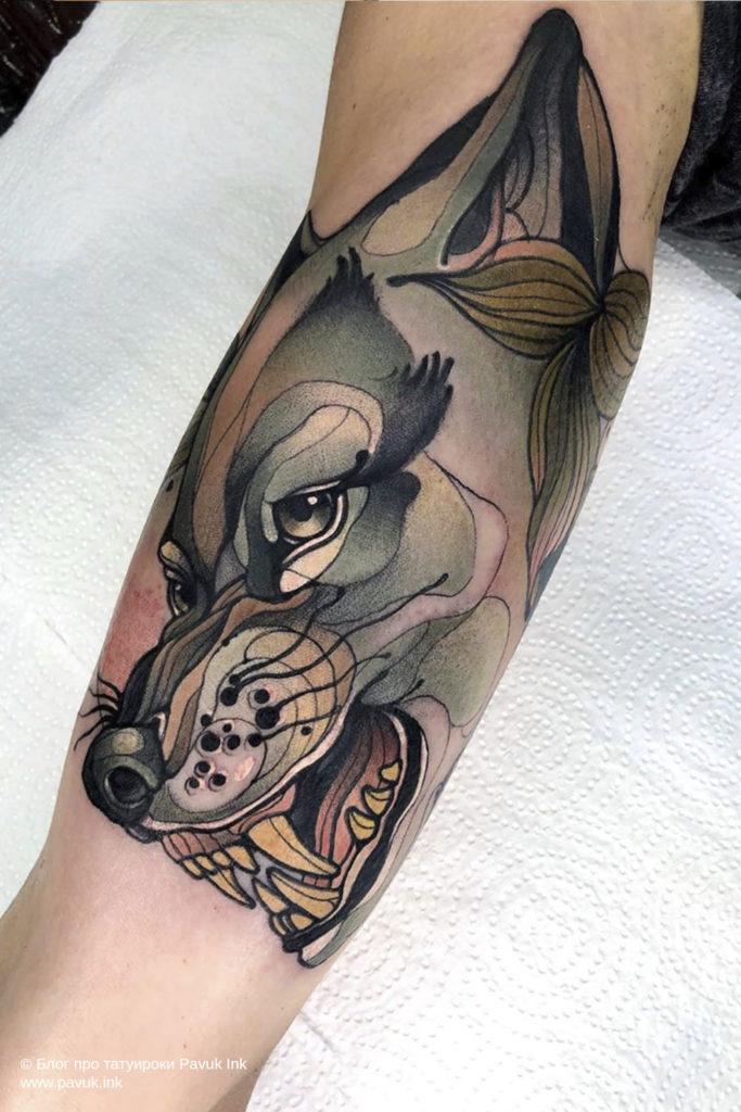 тату волк 38