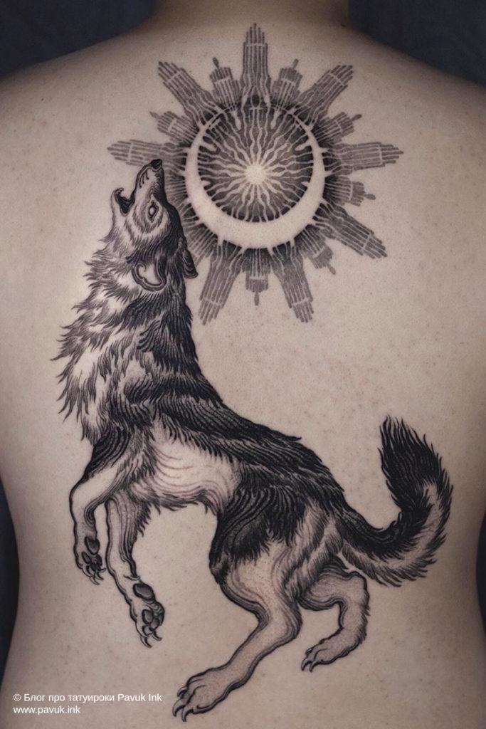 тату волк 45