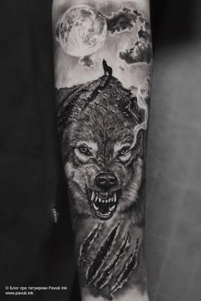 тату волк 46