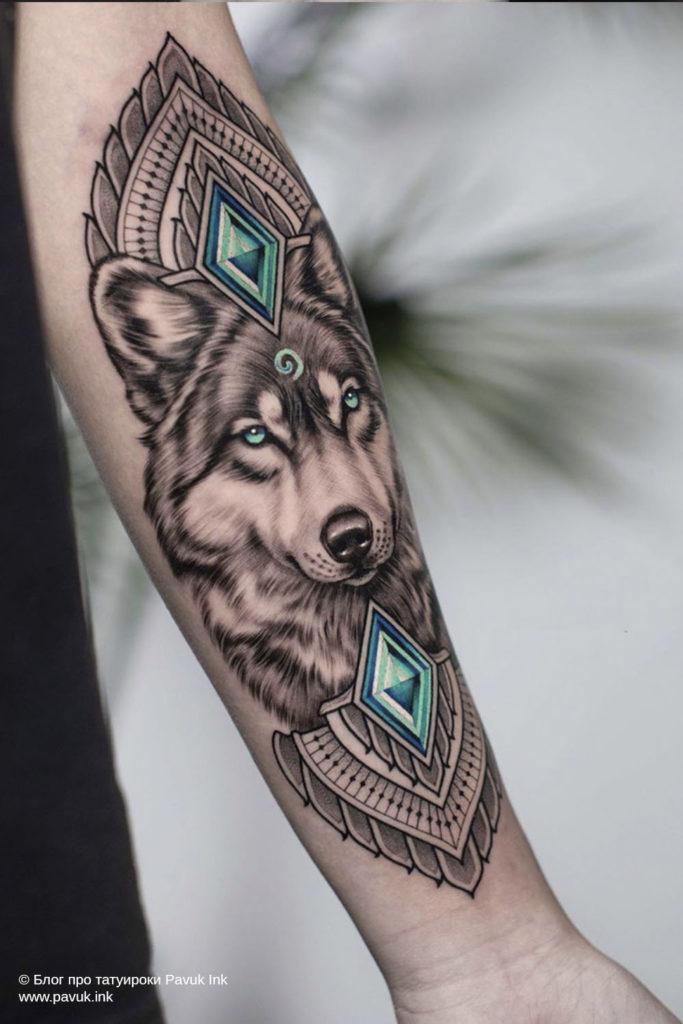 тату волк 47